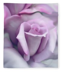 Lavender Rose Flower Portrait Fleece Blanket