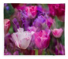 Layers Of Tulips Fleece Blanket