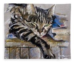 Lazy Cat Portrait - Drawing Fleece Blanket