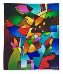 Leaf And Vase Fleece Blanket