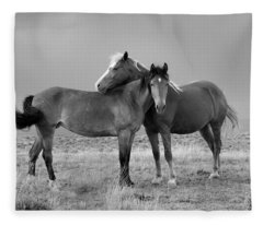 Lean On Me B And W Wild Mustang Fleece Blanket