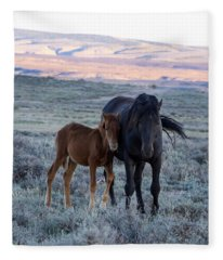 Lean On Me... Ruby And Coal Fleece Blanket