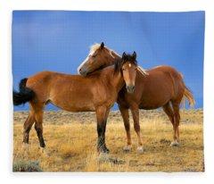 Lean On Me Wild Mustang Fleece Blanket