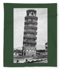 Leaning Tower Of Pisa 1870 Drawing Fleece Blanket