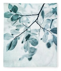 Leaves In Dusty Blue Fleece Blanket