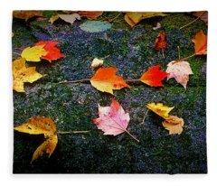 Leaves On Rock  Fleece Blanket