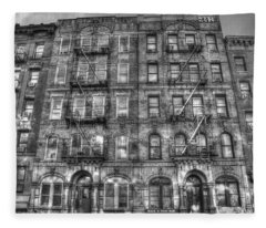 Led Zeppelin Physical Graffiti Building In Black And White Fleece Blanket