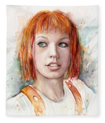Leeloo Portrait Multipass The Fifth Element Fleece Blanket