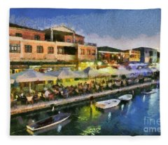 Lefkada Town During Dusk Time Fleece Blanket