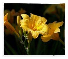 Lemon Yellow Daylilies Fleece Blanket