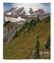 Lenticular Cloud Atop Mt Rainier Fleece Blanket