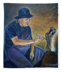 Figurative Painting Fleece Blanket
