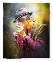 Leonard Cohen 02 Fleece Blanket