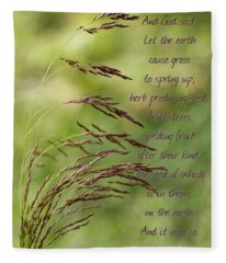 Let The Earth Bring Forth Grass Genesis Fleece Blanket