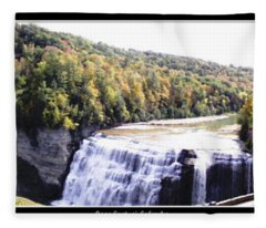 Letchworth State Park Middle Falls Panorama Fleece Blanket