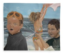 Beach - Children Playing - Kite Fleece Blanket