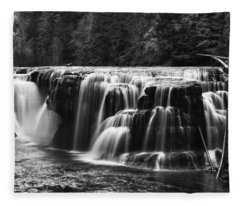 Lewis River Lower Falls Black And White Fleece Blanket