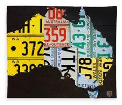 License Plate Map Of Australia Fleece Blanket