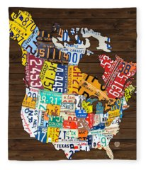 License Plate Map Of North America - Canada And United States Fleece Blanket