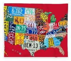 License Plate Map Of The United States On Bright Red Fleece Blanket