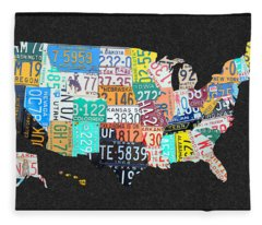 License Plate Map Of The United States On Gray Felt With Black Box Frame Edition 14 Fleece Blanket