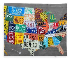 License Plate Map Of The United States On Gray Wood Boards Fleece Blanket