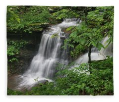 Lichen Falls Ozark National Forest Fleece Blanket