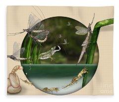 Life Cycle Of Mayfly Ephemera Danica - Mouche De Mai - Zyklus Eintagsfliege - Stock Illustration - Stock Image Fleece Blanket