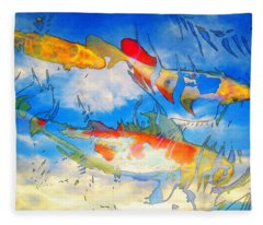 Life Is But A Dream - Koi Fish Art Fleece Blanket