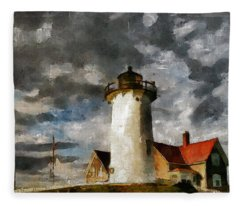 Light House In A Storm Fleece Blanket