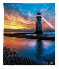 Light House Sunset Fleece Blanket