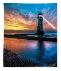 Light House Sunset Fleece Blanket