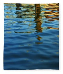 Light Reflections On The Water By A Dock At Aransas Pass Fleece Blanket
