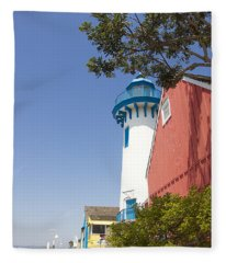 Lighthouse At Fisherman's Village Marina Del Rey Los Angeles Fleece Blanket