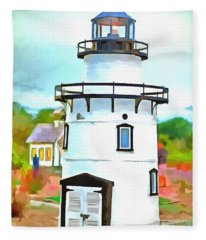 Lighthouse At Old Saybrook Point Fleece Blanket