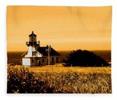 Lighthouse In Autumn Fleece Blanket