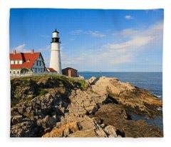 Lighthouse In The Sun Fleece Blanket