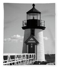 Lighthouse On Nantucket Bw Fleece Blanket