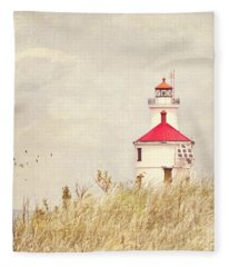 Lighthouse With Red Roof Fleece Blanket