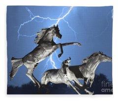 Lightning At Horse World Bw Color Print Fleece Blanket