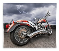 Lightning Fast - Screamin' Eagle Harley Fleece Blanket