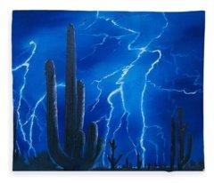 Lightning  Over The Sonoran Fleece Blanket