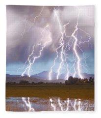 Lightning Striking Longs Peak Foothills 4c Fleece Blanket
