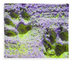 Lilac And Green Pawprints Fleece Blanket