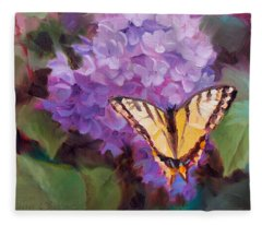 Lilacs And Swallowtail Butterfly Purple Flowers Garden Decor Painting  Fleece Blanket