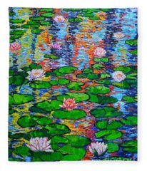 Lily Pond Colorful Reflections Fleece Blanket