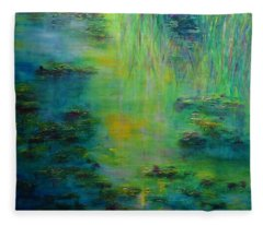 Lily Pond Tribute To Monet Fleece Blanket