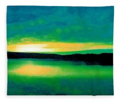 Lime Sunset Fleece Blanket