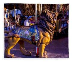 Lion Carrousel  Fleece Blanket