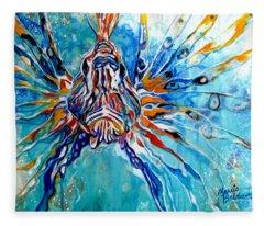 Lion Fish Blue Fleece Blanket